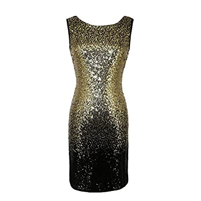 Elfremore Sequin Glitter Bodycon Dress Criss Cross Backless Flapper Dress