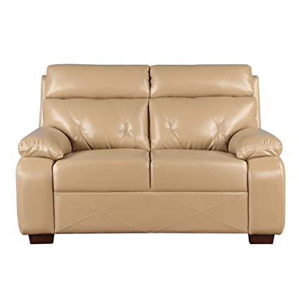 Prime Hometown Adrian Leatherette Two Seater Sofa In Butterscotch Onthecornerstone Fun Painted Chair Ideas Images Onthecornerstoneorg