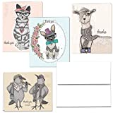 Thank You Note Card Assortment Pack, Set Of 12 Blank Cards, 4 Colorful Animal Designs, White Envelopes Included, By PITANGO