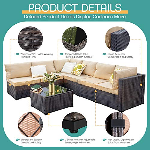 LAFWELL 7 Pieces Outdoor Patio Furniture Sets Clearance,Rattan Patio Sofa, Manual Weaving Wicker Patio Conversation Sectional Sets with Cushions and Tea Table
