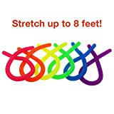 [Figit] 6-Pack Neon Stretchy String Fidget Toys, JINSEY Anti-Anxiety Squishy Sensory Toys - Stretches from 10 Inches to 8 Feet - Best Stress Reducer Relieves ADD ADHD and Boredom