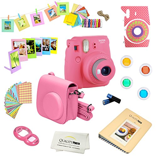 Fujifilm Instax Mini 9 Camera + 14 PC Instax Accessories kit Bundle, Includes; Instax Case + Album + Frames & Stickers + Lens Filters + More (Flamingo Pink)