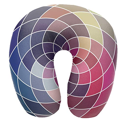 Travel Neck Pillow - Memory Foam Cushion, Mosaic Spectrum Color Wheel Made of Geometric Print, Removable Washable Cover