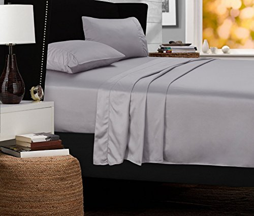 Mayfair Linen Hotel Collection 100% Egyptian Cotton- Genuine 800Tc Sheet Set (Twin XL, Silver)