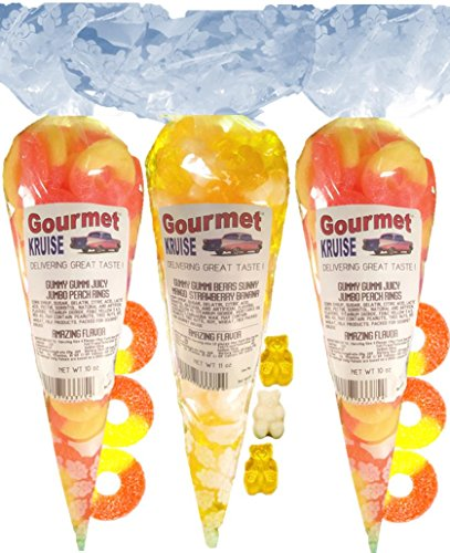 Gummy Rings (2) Jumbo Peach (1) Yellow Mango White Strawberry Banana Gummi Bears (NET WT 31 OZ) Gourmet Kruise Signature Gift Bags -