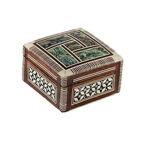 "Egyptian Handmade Jewelry Box-Ring Box inlaid with Mother of Pearl & Abalone Shell (2.5""x2.5"")"