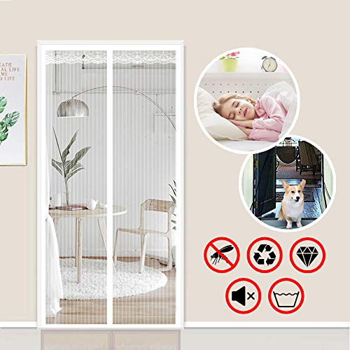 YUHEN Magnetic Screen Door with Durable Fiberglass Heavy Duty Mesh Curtain White, Net for Door To Keep Bugs Out, Pet And…