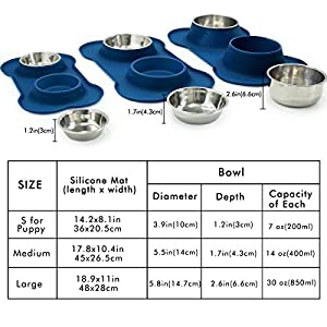Vivaglory Dog Bowls Stainless Steel Water and Food Bowl Pet Cat Feeder with Non Spill Skid Resistant Silicone Mat, Small, Navy Blue