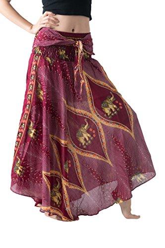 - Bangkokpants Women's Long Bohemian Hippie Skirt Boho Dresses Elephant One Size Asymmetric Hem Design (Peacock Elephant Red, Plus Size)