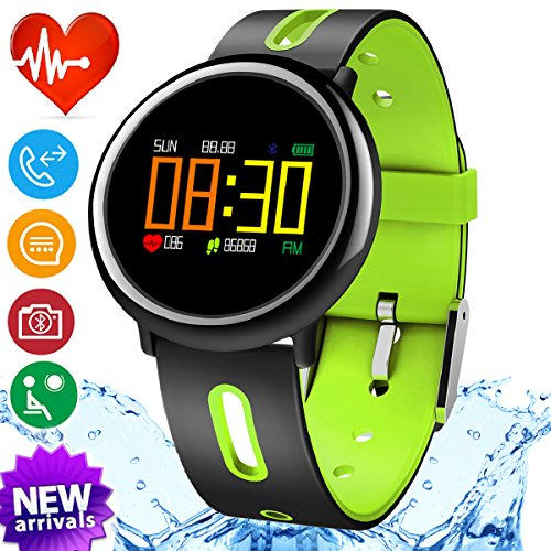 iGeeKid Smart Watch Fitness Tracker with IP67 Waterproof Heart Rate Blood Pressure Sleep Monitor for Men Women Sport Wristbands Pedometer Calorie for Summer Outdoor Running (Green) by iGeeKid