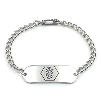 Amazon medical id bracelet idb 11 stainless steel non medical id bracelet idb 11 stainless steel non allergenic mozeypictures Images