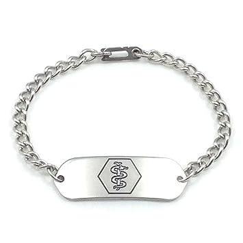 1b597ba03c4c1 MakeMeThis Medical ID Bracelet IDB-11 - Stainless Steel - Non Allergenic