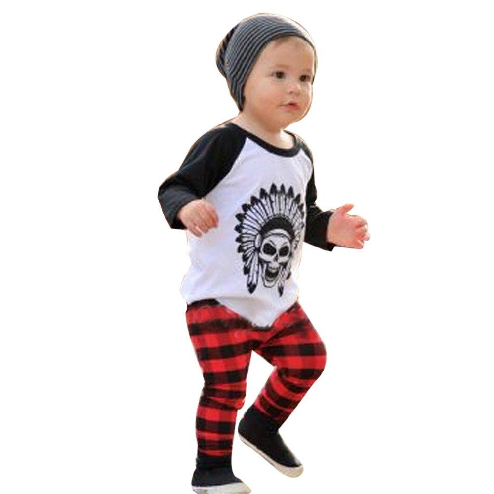 FeiliandaJJ Baby Boys Clothes Set, 2Pcs Kids Newborn Infant Cute Long Sleeve Tops T-Shirt Plaid Pants Outfit Set