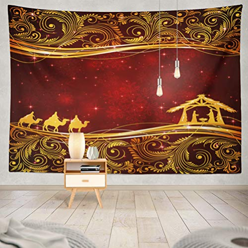 (threetothree 60x80 Inches Tapestry Wall Hanging Interior Decorative Christian Christmas Scene with Golden Floral Red Religious Jesus for Bedroom Living Room Tablecloth Dorm)
