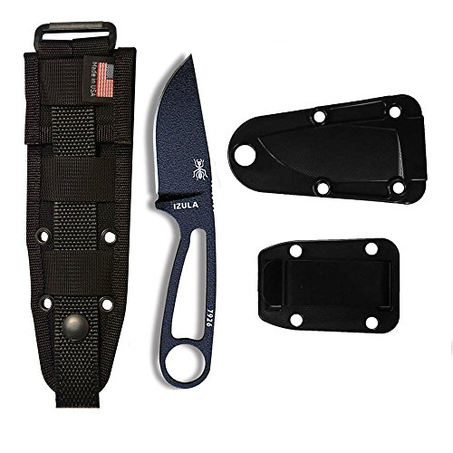 Molle Back Sheath - ESEE Knives Izula-B Fixed Blade Knife w/Molded Polymer Sheath, Clip Plate & Molle Back (Black)