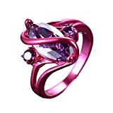 WOWJEW Latest Girl Pink Gold Purple Amethyst Ring Punk American Style Vintage Wedding Rings