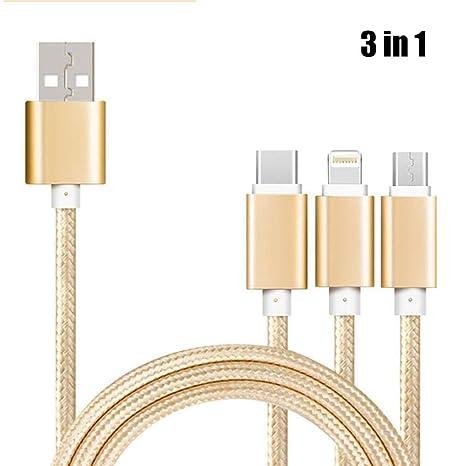 KOBWA 3 en 1 Multi USB Cable de Carga, Nylon Trenzado múltiples USB Cable de Carga rápida con iluminación/Micro USB/Tipo C para iPhone X 8/8 ...
