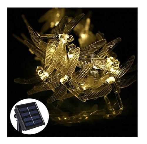 Aqua Solar Controller (Livingly Light 20 LED Outdoor Solar String Lights Dragonflies Shape for Christmas Trees Garden Party, Warm)