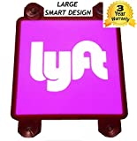 LYFT SIGN LIGHT UP FOR CAR - LARGE 5-inch 4 SUCTION CUPS GLOWING LYFT LIGHTED NEW LOGO - RIDESHARE DECAL PLACARD STICKER ACCESSORIES - DC5V USB POWER NO BATTERIES REQUIRED - SIGNATOM L-1000