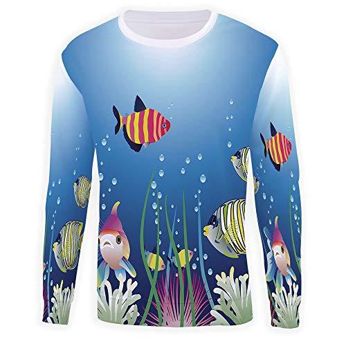 MOOCOM Men's Crewneck Aquarium Pullover Sweater