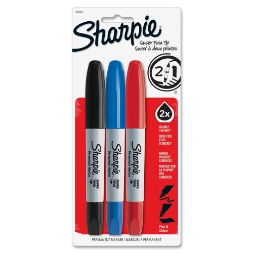 Sharpie Super Twin Permanent Marker - Fine Marker Point Type - Chisel Marker Point Style - Assorted Ink - 3 / Set