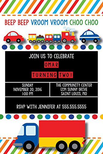 Customized - Primary Color Birthday Invitations - Planes, Trains, Cars, & Automobiles ()