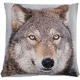 Animal Housse de coussin en velours Motif loup et neige Marron/crème 43,2cm