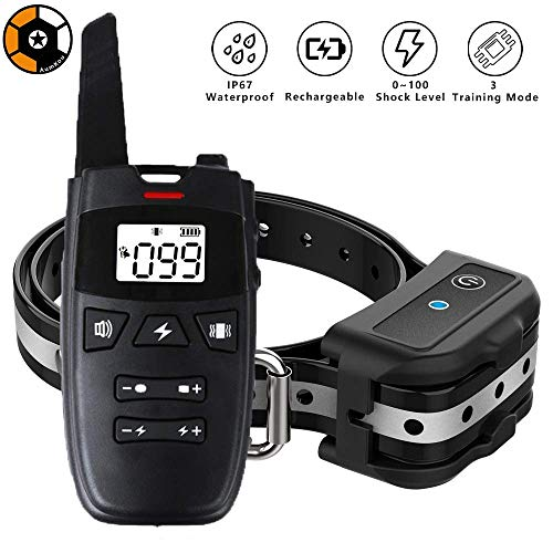 AumKou Dog Training Collar with Remote, 2019 Rechargeable Dog Shock Collar w/3 Training Modes, Beep, Vibration and Shock, Up to 1600Ft Remote Range, IP67 Waterproof 0~100 Shock Levels Training Set