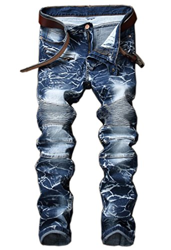 (Aiyino Men's Stylish Camo Straight Fit Stitching Moto Biker Jeans,US 38,01 Blue)