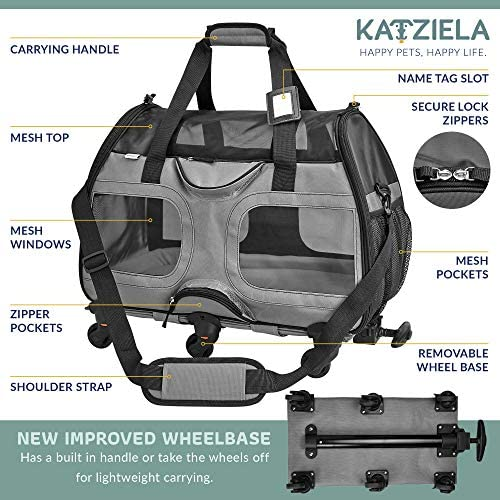 Katziela Pet Carrier with Removable Wheels – Soft Sided, Airline Approved Small Dog and Cat Carrying Bag with Telescopic Walking Handle, Mesh Ventilation Windows and Safety Leash Hook