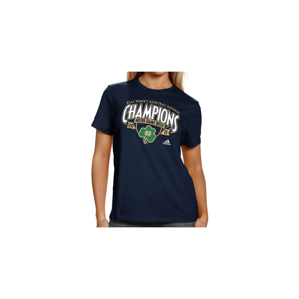 NCAA adidas Notre Dame Fighting Irish Ladies 2011 NCAA Womens Basketball National Champions Space Blocks Too T shirt   Navy Blue