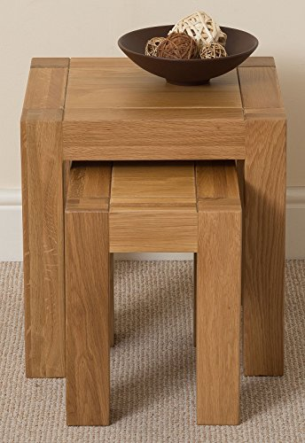 Kuba Chunky Solid Oak Wood Nest of 3 Coffee Side End Tables Living Room, 60 x 40 x 55 cm