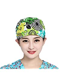 Unisex Adjustable Surgical Hat Scrub Cap with Sweatband for Ponytail One Size Multiple Color