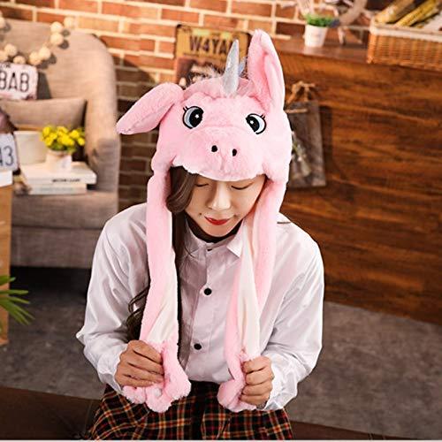 GOOGEE Unicorn Plush Hat - Cuddly Moving Ear Plush Unicorn Hat Soft Hamster Hat Dance Plush Toy for Gift - Pink Unicorn - Cowboy Party Stocking Kit White Kid Beanie -