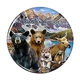 Canadian Rockies Mountain Range Animals Beer Wolf Moose Deer Compact Pocket Purse Hand Cosmetic Makeup Mirror - 2.25' Diameter
