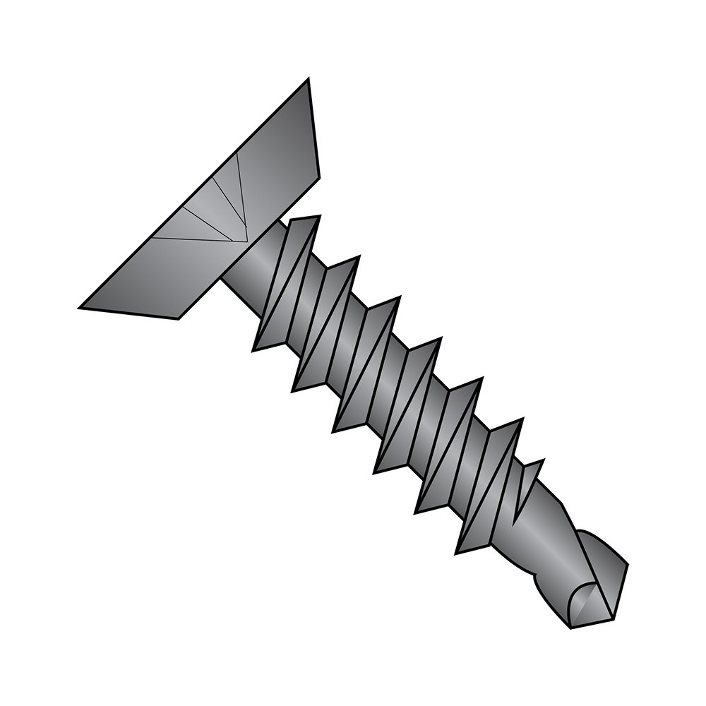 Pack of 100 #2 Drill Point Phillips Drive #8-18 Thread Size Undercut 82 degrees Flat Head 1 inches Length Zinc Plated Steel Self-Drilling Screw Small Parts 0816KPU