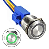 API-ELE [3 year warranty] 22mm 12 V Angel Eye Green LED Waterproof Stainless Steel Round Metal Self-locking Latching Pushbutton Switch 7/8'' 1NO 1NC(Green)