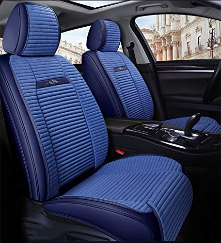 Full Set Universal Fit 5 Seats Car PU Leather Car Seat Cushions Anti-Slip Suede Backing Universal Fit Car Seat Covers for Sedan SUV Seats,Blue: