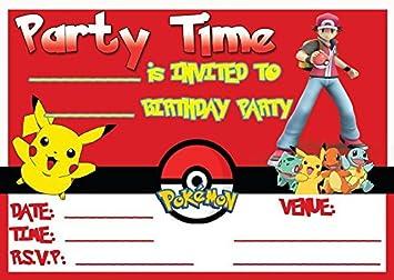 POKEMON PIKACHU CHILDRENS BIRTHDAY PARTY INVITES INVITATIONS X 20