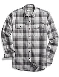 Men's Slim-Fit Long-Sleeve Buffalo Plaid Herringbone Shirt