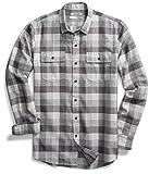 Goodthreads Men's Slim-Fit Long-Sleeve Buffalo Plaid Herringbone Shirt, Medium Grey Heather, Medium