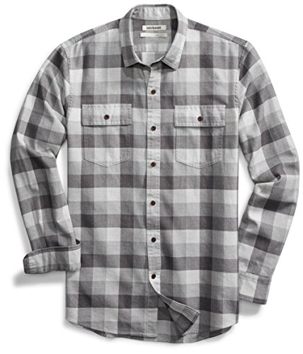 Goodthreads Men's Slim-Fit Long-Sleeve Buffalo Plaid Herringbone Shirt, Medium Grey Heather, Large