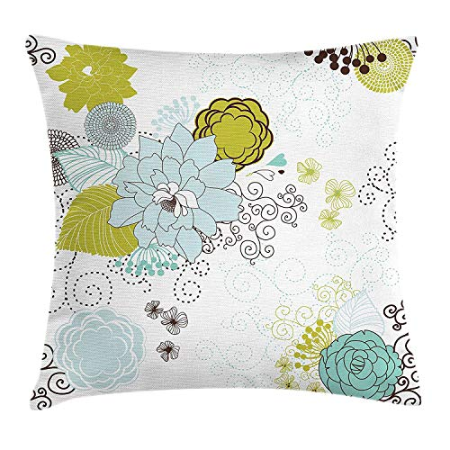 Queolszi Floral Throw Pillow Cushion Cover, Pastel Pattern Romantic Ornament Components Petals Leaves Swirls, Decorative Square Accent Pillow Case, 26 X 26 Inches, Baby Blue Yellow Green Mint]()