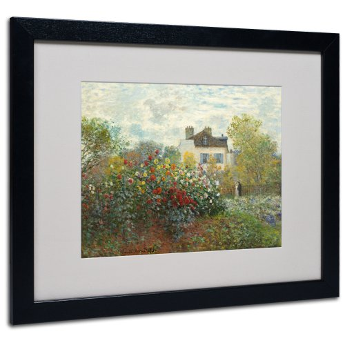 House Fine Art Canvas Print - The Artist's Garden Canvas Wall Art by Claude Monet with Black Frame, 16 by 20-Inch
