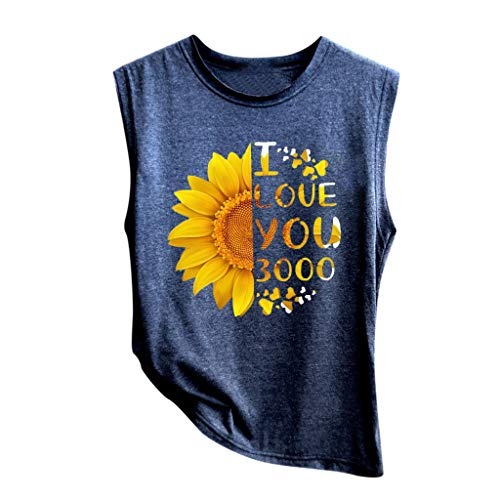 HIRIRI Sunflower Print Vest Sleeveless Casual Basic Tops O-Neck Loose Soft Shirt
