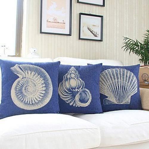 【Bailand】Set of 3 Nautical Sea Side Theme Cotton/Linen Decorative Pillow Cover