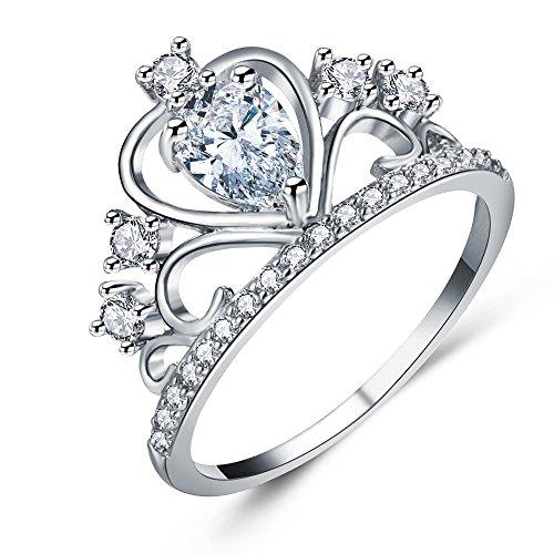 Cubic Zirconia Heart Crown Ring CZ Princess Tiara Design Band Diamond Accented Fashion Ring for Women -