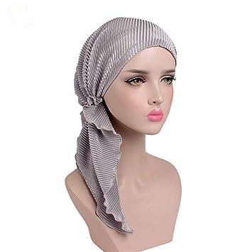 Women Ruffle Headscarf Chemo Hat Turban Head Scarves Pre-Tied Headwear  Bandana For Cancer Ladies 9f8e145c6d46