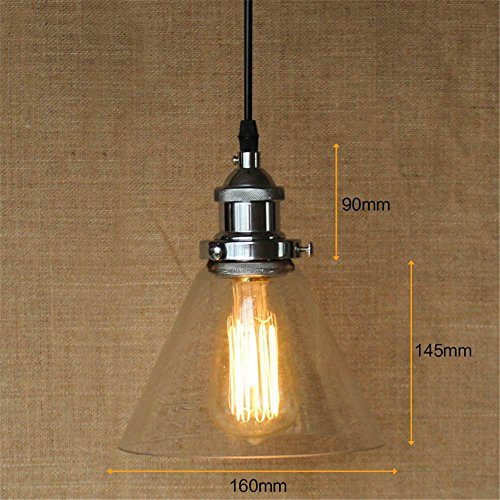 Retro modern simple personality silver transparent glass lampshade single head Chandeliers, B
