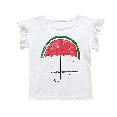 58992f0014458 Vêtements Fille Ete Oyedens Enfants Filles T-Shirts Fille 6 Mois à 7 Ans  Hauts